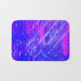 Glitch Art Blue & Magenta Bath Mat
