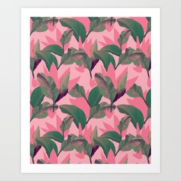 Retro Luxe Lilies Pink Art Print