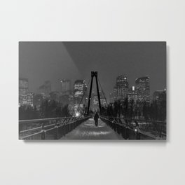 Winter Walk; Calgary in the Snow Metal Print
