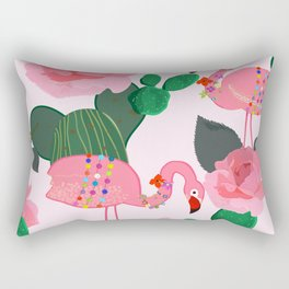 Flamingos. Exotic Birds with cactus and roses artistic design pattern Rectangular Pillow