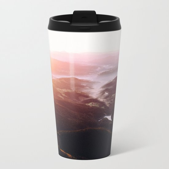 Morning Glory Mountain Landscape Metal Travel Mug