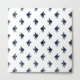 Navy blue and white maritime sea fish animal pattern on #Society6 Metal Print