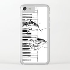 hands of a pianist playing music on the piano Clear iPhone Case