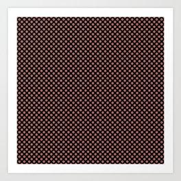 Black and Canyon Rose Polka Dots Art Print