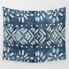 Vintage indigo inspired  flowers and lines Wall Tapestry