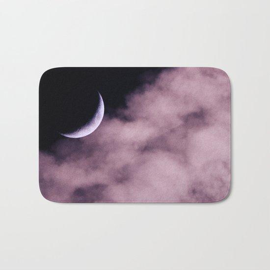 Crescent Moon On A Fluffy Pillow Bath Mat