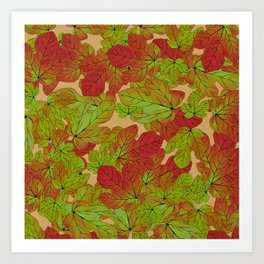 Abstract watercolor burgundy red green fig leaves foliage Art Print