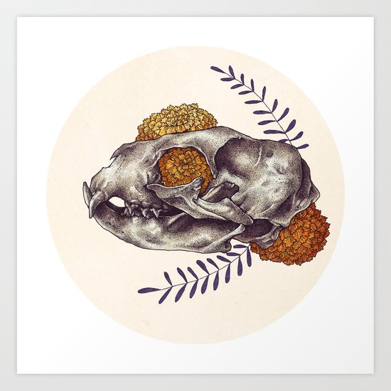 Inktober Cat Skull Art Print