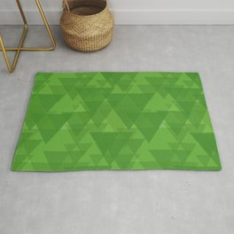 Gentle green triangles in intersection and overlay. Rug
