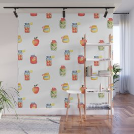 Autumn Seasonal Cooking Pattern With Honey, Jam and Preserves in Glass Jar Wall Mural