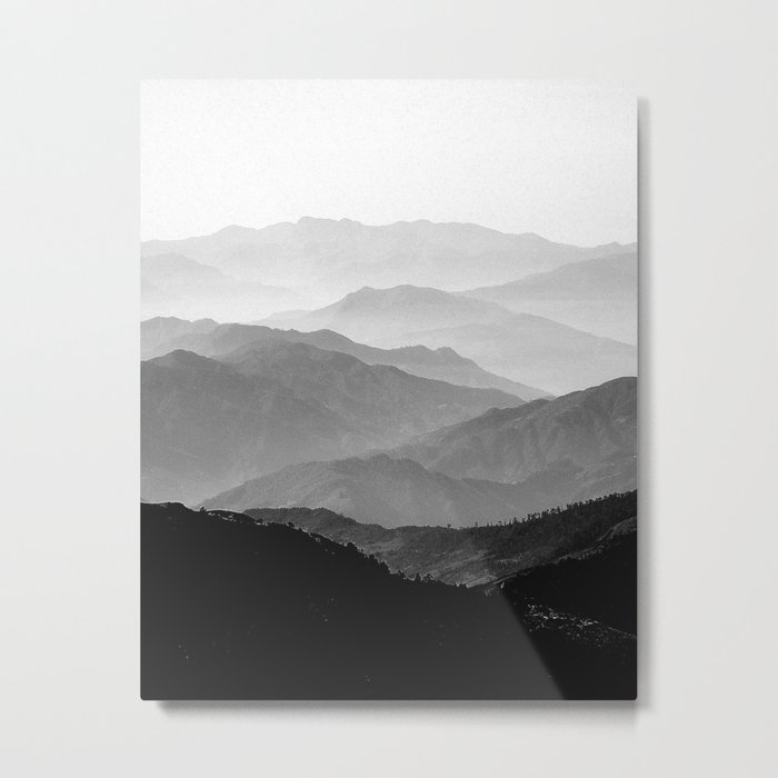 Mountain Mist - Black and White Collection Metal Print