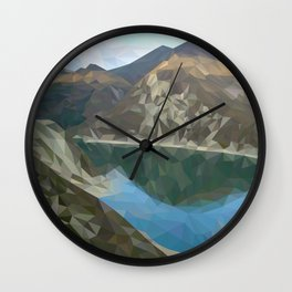 Lake in the mountains in polygon technique Wall Clock