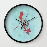 philippines Wall Clocks featuring Philippines  by Sarah Renee G.