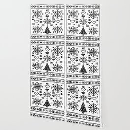 Christmas Cross Stitch Embroidery Sampler Black And White Wallpaper
