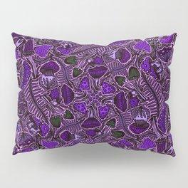 Ultraviolet Mushroom Wood, Field Ferns Leaves  in Lavender Purple Fungi Forest Painting Pillow Sham