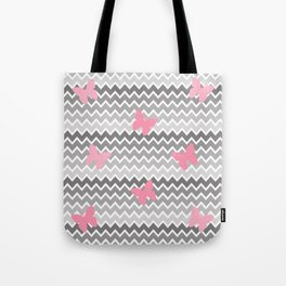 Grey Gray Ombre Chevron with Pink Butterflies Tote Bag