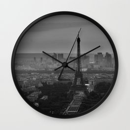 Black and White Eiffel Tower - Paris Wall Clock