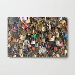 Locks on bridge in Paris, France Metal Print