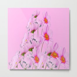 PASTEL FUCHSIA PINK COSMOS FLOWERS  ON PINK COLOR Metal Print