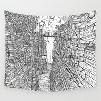 library Wall Tapestries featuring the Library by KadetKat