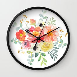 Watercolor bouquets with pink flowers Wall Clock