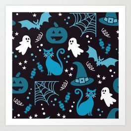 Halloween party illustrations blue, black Art Print