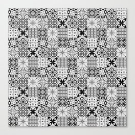 Patchwork pattern, black and white, seamless tile design Canvas Print
