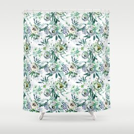 Country White Green Rustic Watercolor Floral Shower Curtain