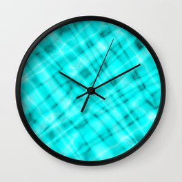 Pastel metal mesh with light blue intersecting diagonal lines and stripes. Wall Clock