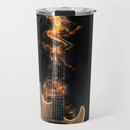 Flaming electric guitar Travel Mug