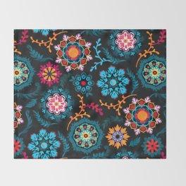 Suzani Inspired Pattern on Black Throw Blanket