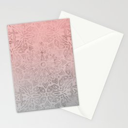 Oriental ornament pattern Rose Quartz Stationery Cards