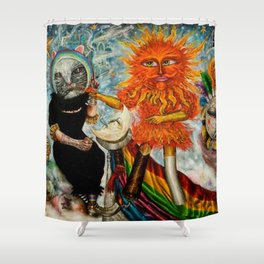 Gatos Malos, or Bad Kitties, portrait surrealist mural painting by A. Colunga Shower Curtain