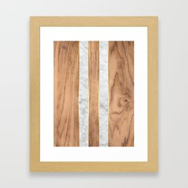 Wood Grain Stripes - White Marble #497 Framed Art Print