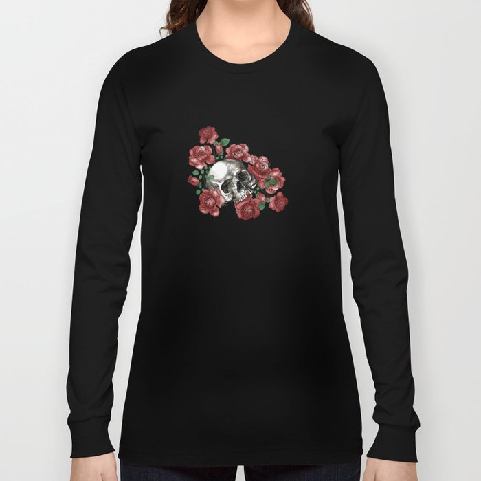 Skulls and Roses or Les Fleurs du Mal Long Sleeve T-shirt