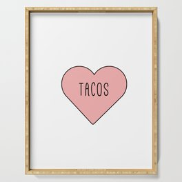 I Love Tacos Heart - Pink Girly Romance Serving Tray