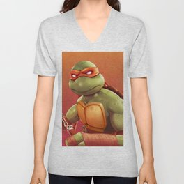 Michelangelo Teenage Ninja Mutant Turtles by Big Foot Studios Unisex V-Neck