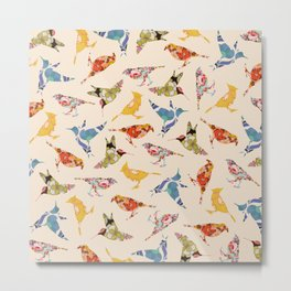 Vintage Wallpaper Birds Metal Print