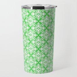 Damask (White & Green Pattern) Travel Mug
