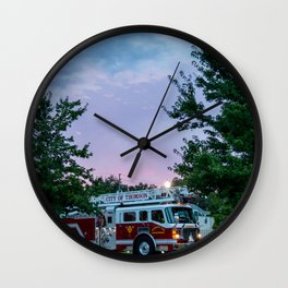 City of Thomson Georgia Firetruck Sunset Wall Clock