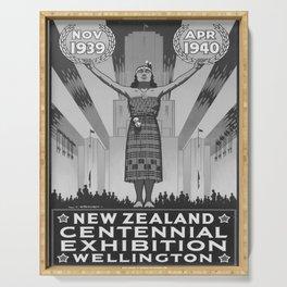 retro vintage 1939 New Zealand Centennial Exhibion poster Serving Tray
