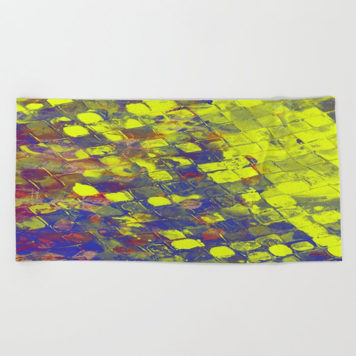 Take The First Step - Abstract, blue and yellow pattern Beach Towel