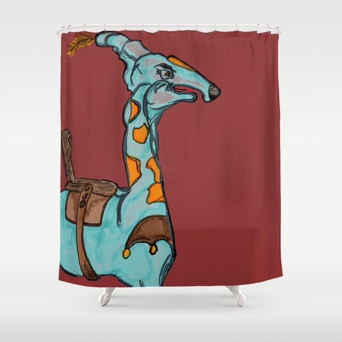 Blue Camel Shower Curtain By Maxsuba