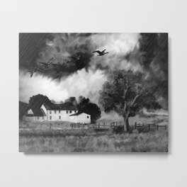 Farmhouse Watercolor (Black and White) Metal Print
