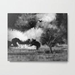 Farmhouse Watercolor (Black and White) Metal Print