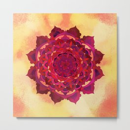 Hot Autumn Mandala Design Metal Print