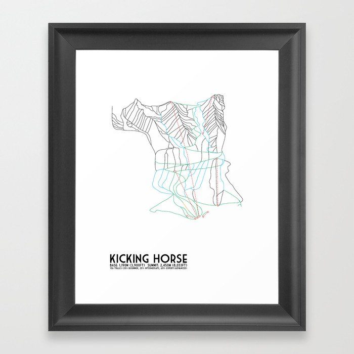 Kicking horse bc canada minimalist trail map framed art print