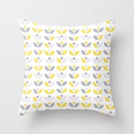 Yellow and Grey Abstract Flower Pattern #society6 #decor #buyart #artprint Throw Pillow