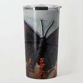 Butterfly Art, Papillions, Mixed Media Collage Art Travel Mug