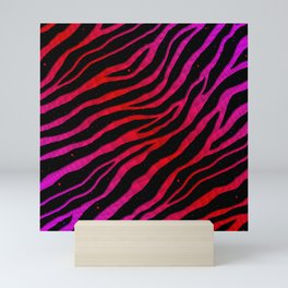Ripped SpaceTime Stripes - Pink/Red Mini Art Print
